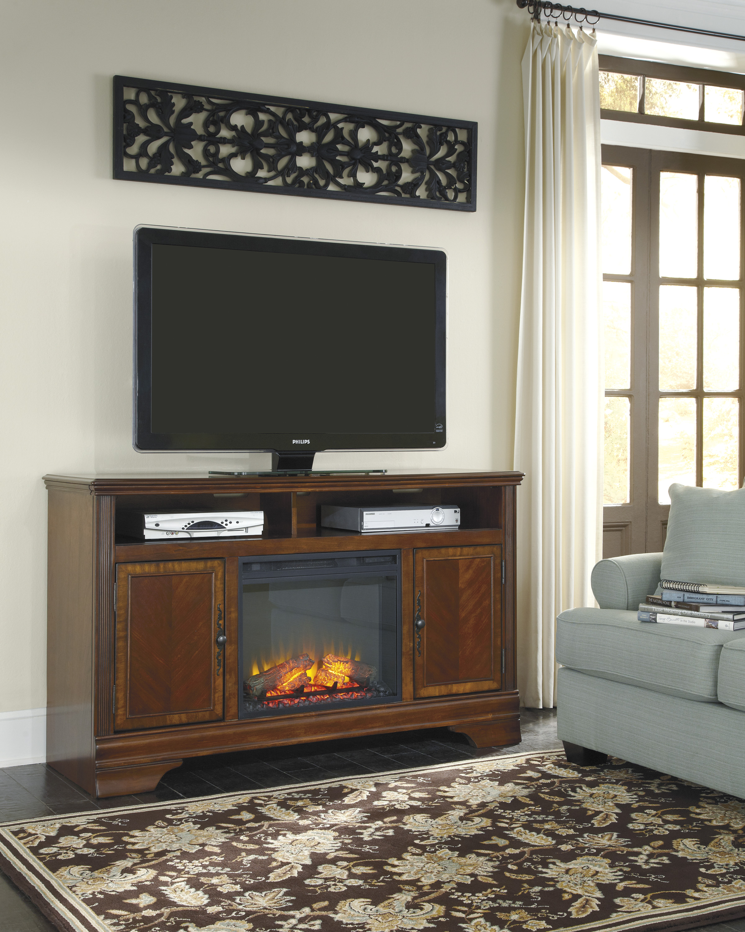 wood with stand upc walker furniture fireplace console p tvs up espresso edison for multiple to tv we